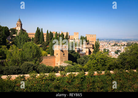 Towers and fortifications of the Alhambra Palace in Granada Spain - Stock Image