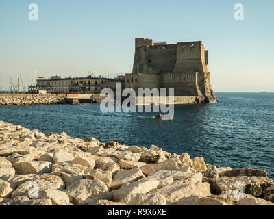Ovo Castle in the city of Naples, Campania region, Italy - Stock Image