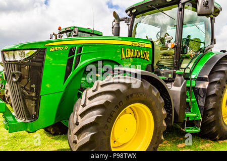 Green tractor at Northumberland County Show, 2018. - Stock Image