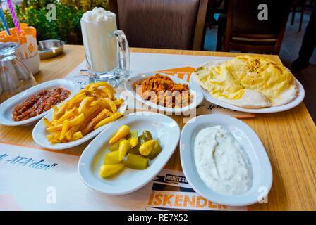 Garnish, bread and ayran, ATA restaurant, Kizilay, Ankara, Turkey, Eurasia - Stock Image