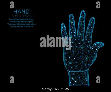 Human hand low poly model, gesture in polygonal style, body part wireframe vector illustration made from points and lines on a black background - Stock Image