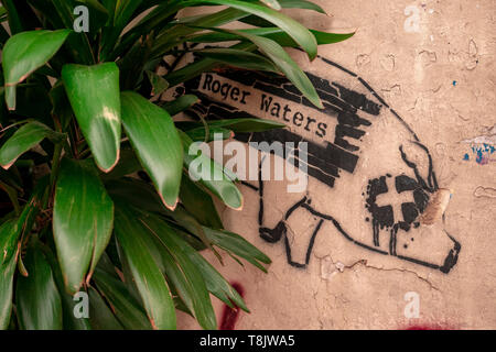 Buenos Aires, Argentina, May 9 2019. Stencil, street art, from a pig referring to the English singer-songwriter Roger Waters - Stock Image