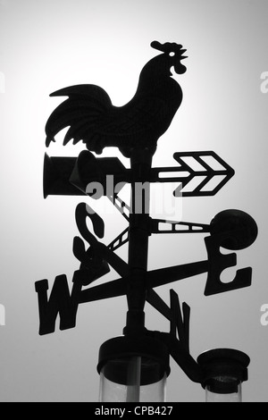 BLACK  CHOOK METAL WEATHER VANE SILHOUETTED  AGAINST A LIGHT GREY SKY  VERTICAL BDA - Stock Image