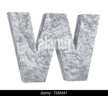 Concrete Capital Letter - W isolated on white background. 3D render Illustration - Stock Image