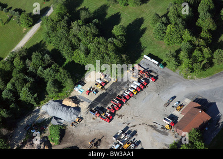 Aerial photo of a public works depot and garage, Brookville, PA, USA - Stock Image