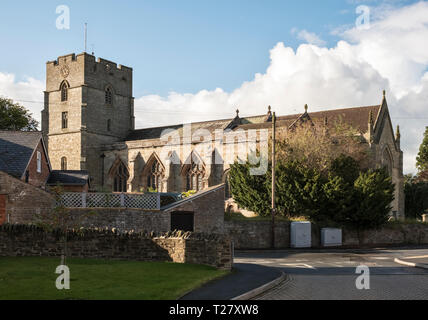 St Andrew's Church, Presteigne, Powys, UK. A 13c Norman church, heavily restored in 1868 - Stock Image