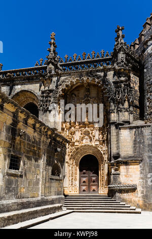 The main entrance of the Convent of Christ in Tomar, Portugal, built in the Manueline style. - Stock Image