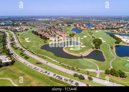 Naples Florida Lely Resort Boulevard GreenLinks Flamingo Island Club golf course homes aerial overhead bird's eye view above - Stock Image