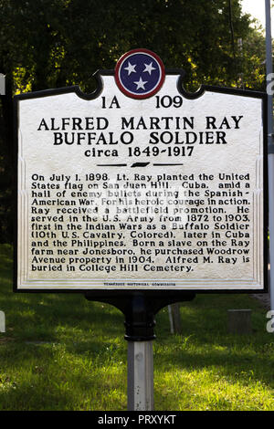 JONESBOROUGH, TN, USA-9/29/18:  Marker commemorating Alfred Martin Ray, Buffalo Soldier, and helped raise the flag on San Juan Hill in 1898. - Stock Image