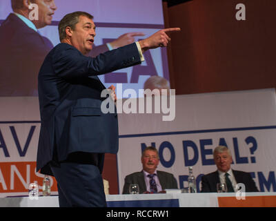 'Leave Means Leave' rally held at Queen Elizabeth II Conference Centre  Featuring: Nigel Farage Where: London, United Kingdom When: 14 Dec 2018 Credit: Wheatley/WENN - Stock Image