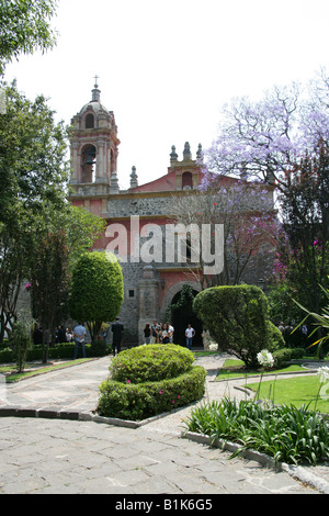 A Church in the San Angel Neighbourhood of Mexico City - Stock Image