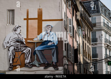 Toulon, France - September 2018: Street art in the streets of Toulon, France - Stock Image