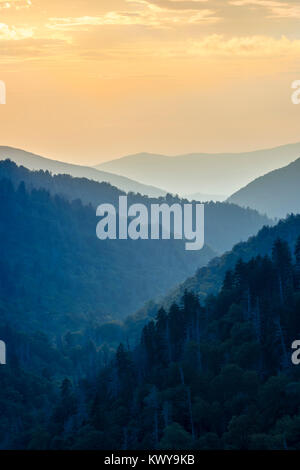 Sunset from Newfound Gap in Great Smoky Mountains National Park. - Stock Image