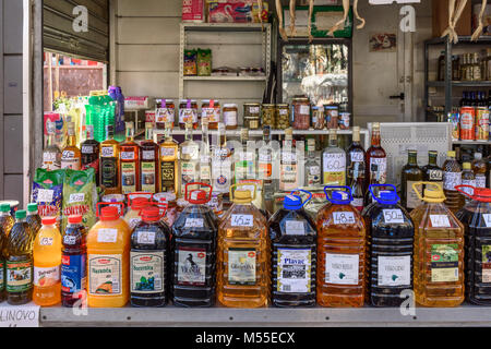 Local Wines and Olive Oils at Green Market, Split, Croatia - Stock Image