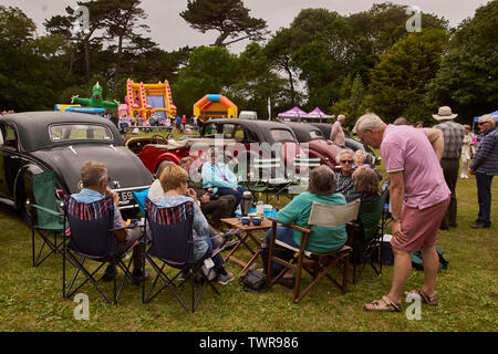 Classic and Vintage car rally picnic - Stock Image
