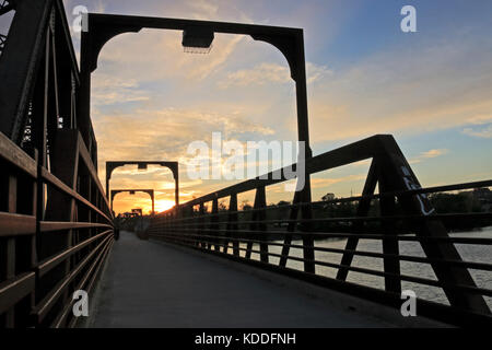 Peterborough Trans-Canada Trail Bridge parallel to Canadian Pacific Railway Bridge, a popular walking cycling route - Stock Image