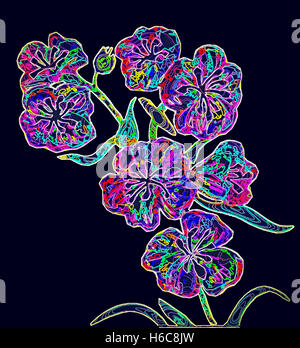 Flower One. Painting digitally adjusted. - Stock Image