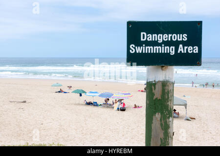 Dangerous Swiming Area Nature Walley Beach South Africa - Stock Image