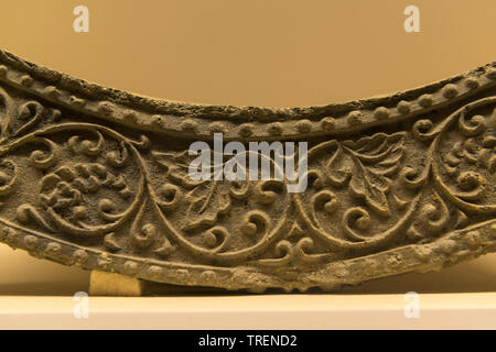 Concave Roof-end Tile with Grapevine Design. Clay. Unified Silla Period. Wolji Pond, Gyeongju, North Gyeongsang-do province. National Museum of Korea - Stock Image