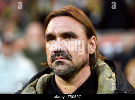 Norwich City manager Daniel Farke during the Sky Bet Championship match at Carrow Road, Norwich. - Stock Image