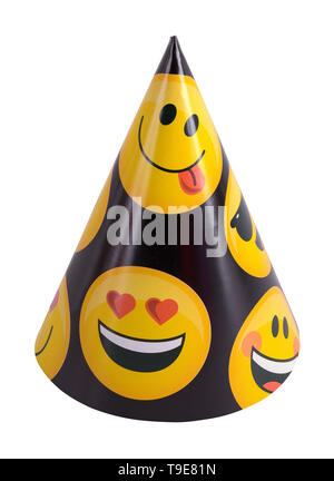 Emoji Party Cone Hat Cut Out on White Background. - Stock Image