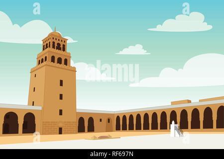 A vector illustration of Al-Qirawan Landmark Building in Riyadh - Stock Image
