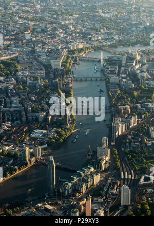 Early morning aerial view of the River Thames through central London from the west. - Stock Image