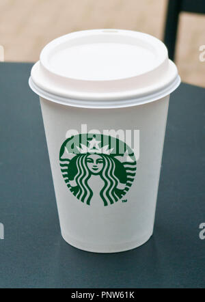 Starbucks Disposable Polystyrene Coffee Cup - Stock Image