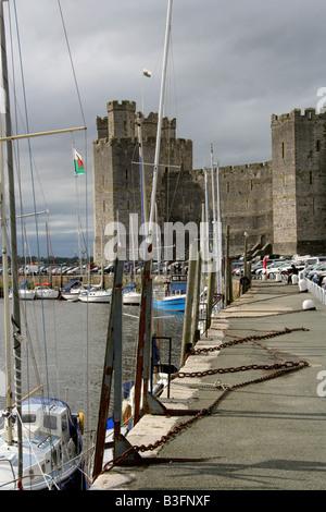 Caernarvon Castle and Harbour, Gwynedd, North Wales, UK - Stock Image