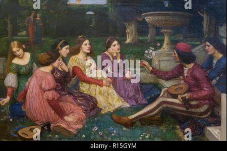 The Decameron, John William Waterhouse, 1915-1916, Lady Lever Art Gallery, Port Sunlight, Liverpool, England, UK, Europe - Stock Image