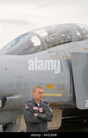 Mechanic standing before Luftwaffe McDonnell F-4F Phantom II during airshow in Brno 2007 - Stock Image