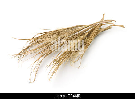 Dried palm leaves isolated on white - Stock Image