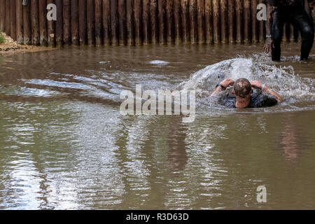 Men splashing in a water feature during a muddy obstacle course run - Stock Image