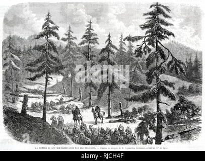 A battalion of soldiers march up the Rio-Frio pass, with two officers on horseback watching as groups of soldiers ahead try to drag fallen trees and logs from the path. - Stock Image