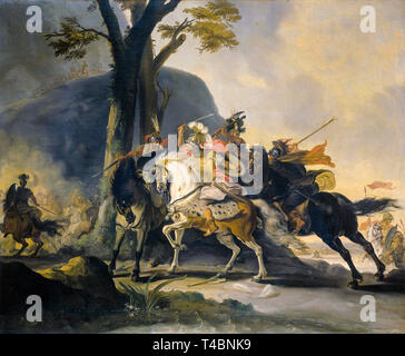 Alexander the Great at the Battle of the Granicus against the Persians, painting by Cornelis Troost, 1737 - Stock Image