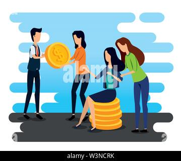 professional businessman and businesswomen teamwork with coins - Stock Image
