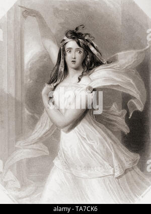 Cassandra.  Principal female character from Shakespeare's play Troilus and Cressida.  From Shakespeare Gallery, published c.1840. - Stock Image