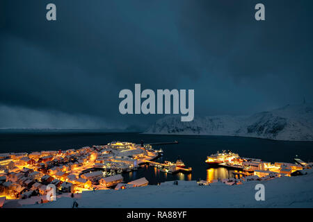 Honningsvag during polar night - Stock Image
