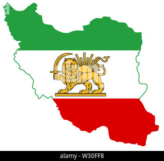 flag map iran illustration geography  country nation border - Stock Image
