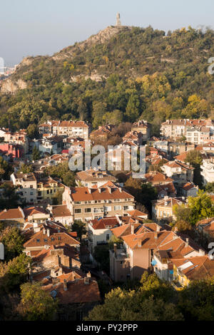 High angle scenic view of residential area and autumn trees in Plovdiv, Bulgaria - Stock Image