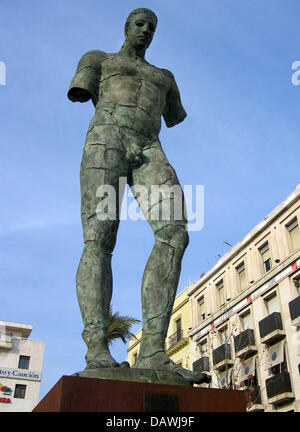 The bronce sculpture 'Icaro Screpolato'  by Polish artist  Igor Mitoraj is pictured at the Plaza Nueva in - Stock Image