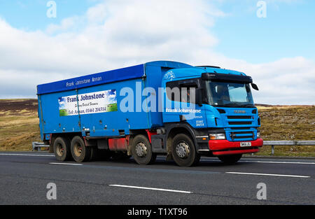 Frank William Johnstone is a haulage/transport company located at Annan, Dumfries-shire, Scotland, United Kingdom, Europe. - Stock Image