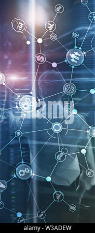 Vertical Panorama Banner. Business process structure industrial workflow diagram automation innovation concept on virtual screen mixed media - Stock Image