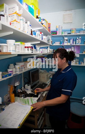 Veterinary Nurse in the Practice Dispensary - Stock Image