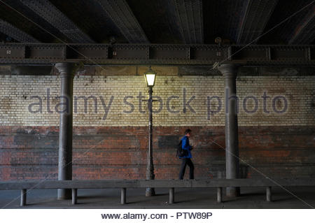 Holliday Street Aqueduct - view showing the underside of the structure, which passes over a road (Holliday St.). Birmingham, West Midlands, UK. - Stock Image