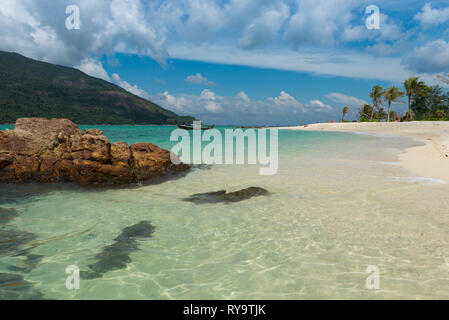 Koh Lipe most beautiful empty beach with crystal clear pristine water of Andaman sea, Thailand - Stock Image