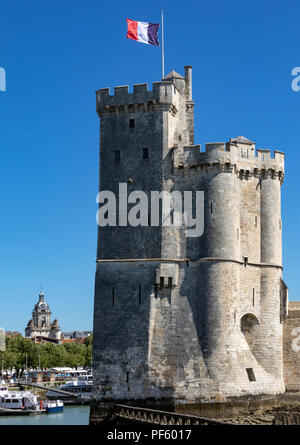 Tour de la Chaine in the Vieux Port in La Rochelle on the coast of the Poitou-Charentes region of France. This landmarks date from the 11th century. - Stock Image