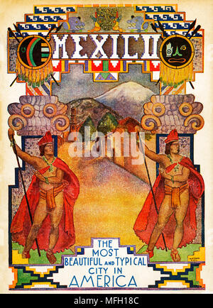Mexico, 1928 illustrated guidebook cover to the Central American capital city using graphics redolent of the Aztec empire - Stock Image