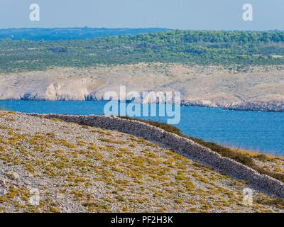 Stone walls near Smokvica on island of Pag in Croatia - Stock Image