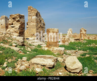 Syria. Abu Kamal District, Near Salhiye, Dura-Europos. Ancient city, Hellenistic, Parthian and Roman. Temple of Bel. View of the ruins. 1st century BC. Photo taken before the Syrian Civil War. - Stock Image